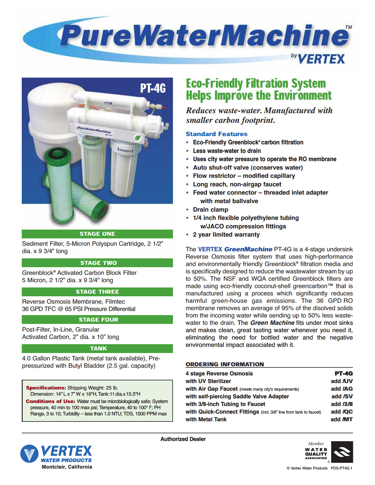 Vertex Pure Water Green Machine PT-4G Undersink Reverse Osmosis ...